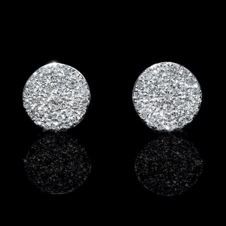 Diamond 14k White Gold Cluster Earrings