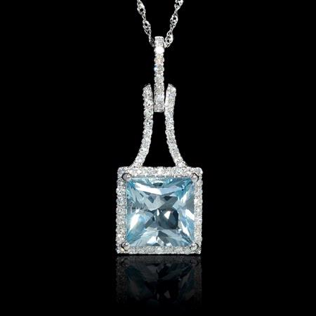 Diamond and Aquamarine 14k White Gold Pendant Necklace