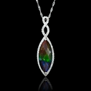 Diamond and Ammolite 14k White Gold Pendant Necklace