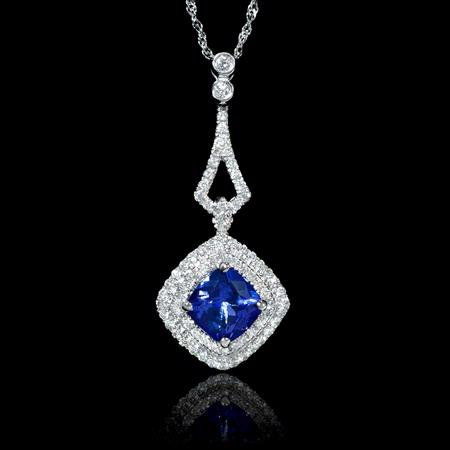 Diamond and Tanzanite 14k White Gold Pendant Necklace