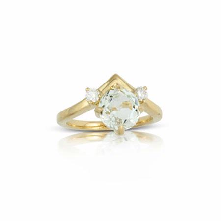 Little Bird Collection Diamond and White Topaz 18k Yellow Gold Engagement Ring