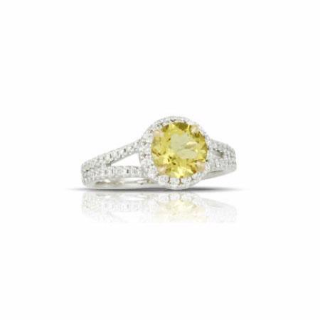 Little Bird Collection Diamond and Canary Yellow Beryl 18k White Gold Halo Engagement Ring