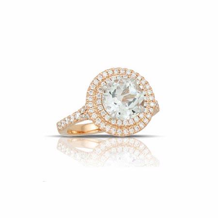 Little Bird Collection Diamond and White Topaz 18k Two Tone Gold Halo Engagement Ring