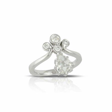 Little Bird Collection Diamond and White Topaz 18k White Gold Engagement Ring