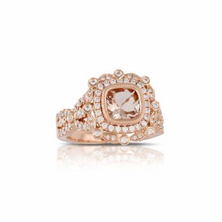 Little Bird Collection Diamond and Peach Morganite 18k Rose Gold Halo  Engagement Ring
