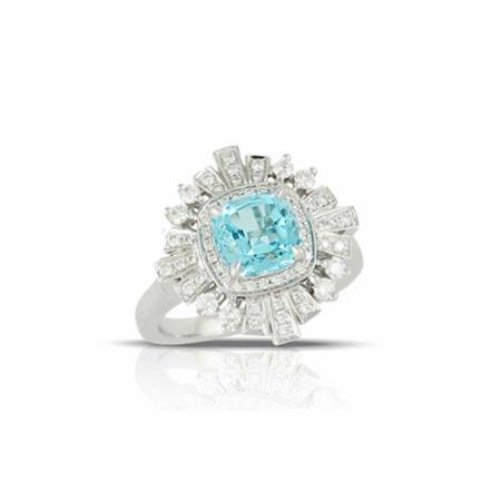 Little Bird Collection Diamond and Blue Topaz 18k White Gold Halo Engagement Ring