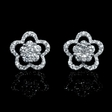 .86ct Diamond 18k White Gold Cluster Earrings