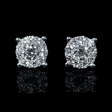 1.09ct Diamond 18k White Gold Cluster Earrings