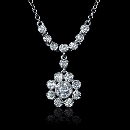 Diamond Antique Style 18k White Gold Pendant Necklace