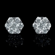 2ct Diamond 18k White Gold Cluster Earrings