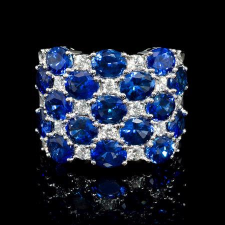 .69ct Diamond and Blue Sapphire 18k White Gold Ring
