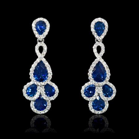 .57ct Diamond and Blue Sapphire 18k White Gold Dangle Earrings
