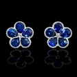 .11ct Diamond and Blue Sapphire Antique Style 18k White Gold Cluster Floral Earrings