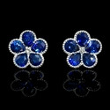 Diamond and Blue Sapphire Antique Style 18k White Gold Cluster Floral Earrings