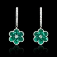 .27ct Diamond and Emerald Antique Style 18k White Gold Cluster Flower Earrings