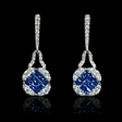 .44ct Diamond and Blue Sapphire 18k White Gold Dangle Earrings
