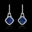 .54ct Diamond and Blue Sapphire 18k White Gold Dangle Earrings