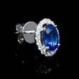 .38ct Diamond and Blue Sapphire 18k White Gold Cluster Earrings