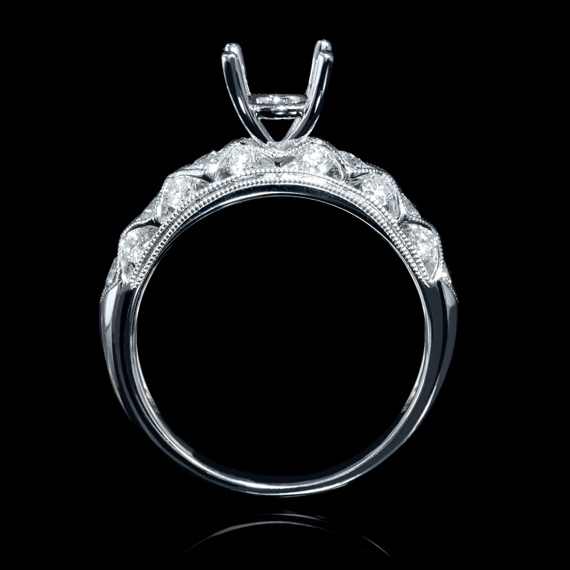 72ct antique style 18k white gold engagement ring
