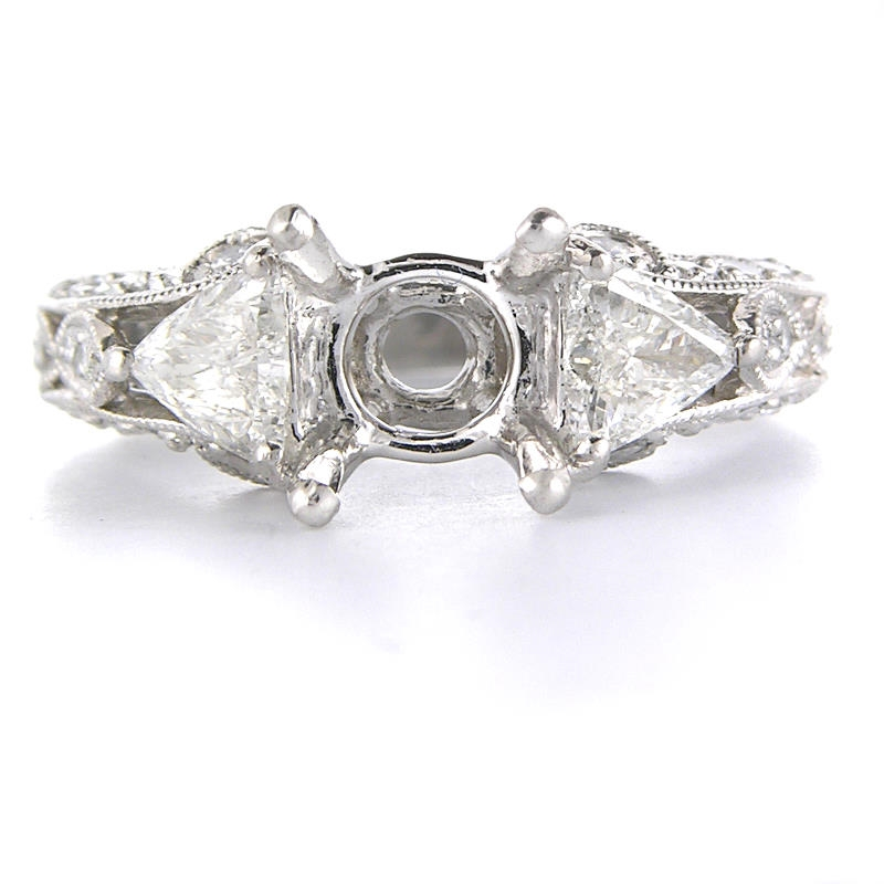 75ct antique style platinum engagement ring mounting