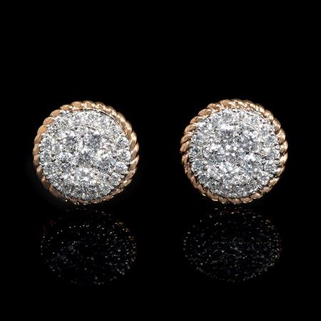 .90ct Diamond 18k Two Tone Gold Cluster Earrings