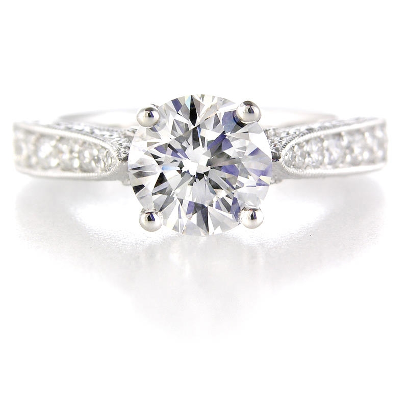56ct antique style platinum engagement ring setting