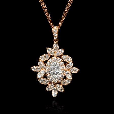 Diamond Cluster 18k Rose Gold Pendant