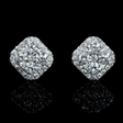 1.19ct Diamond 18k White Gold Cluster Earrings