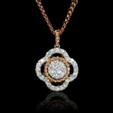 Diamond Cluster 18k Two Tone Gold Pendant