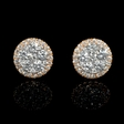 1.63ct Diamond 18k Two Tone Gold Cluster Earrings