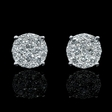 1.21ct Diamond 18k White Gold Cluster Earrings