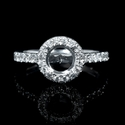 Diamond 18k White Gold Halo Halo Engagement Ring Setting