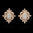 .85ct Diamond 18k Rose Gold Cluster Earrings