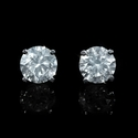 Diamond 3.09 Carat 14k White Gold Stud Earrings