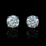 Diamond 3.06 Carat 14k White Gold Stud Earrings