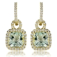 .48ct Diamond and Green Amethyst 18k Yellow Gold Dangle Earrings