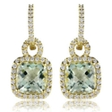 Lady's diamond and green amethyst 18k yellow gold dangle earrings