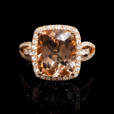 .50ct Diamond Morganite 18k Rose Gold Ring