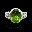 .62ct Diamond and Peridot 18k White Gold Ring