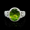 Diamond and Peridot 18k White Gold Ring
