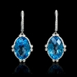 .37ct Diamond Blue Topaz 18k White Gold Dangle Earrings