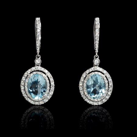 Diamond and Aquamarine 18k White Gold Dangle Earrings