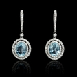 .70ct Diamond Aquamarine 18k White Gold Dangle Earrings