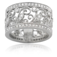 1.15ct Diamond Antique Style 18k White Gold Wedding Band Ring