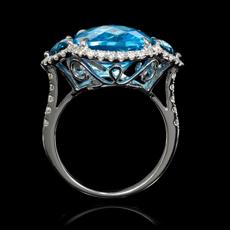 1 45ct and blue topaz 18k white gold ring