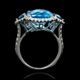1.45ct Diamond and Blue Topaz 18k White Gold Ring
