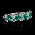 .98ct Diamond and Emerald 18k White Gold Ring