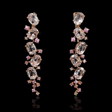 08ct Diamond Morganite And Pink Shire 18k Rose Gold Dangle Earrings