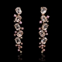 Diamond Morganite and Pink Sapphire18k Rose Gold Dangle Earrings