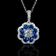 .62ct Diamond and Blue Sapphire 18k White Gold Pendant Necklace